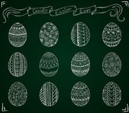 Chalk doodle vector Easter set with eggs. Stock Image