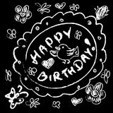 Chalk Doodles Birthday Greeting card Stock Photography