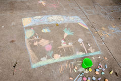 Chalk Drawing. A child's outdoor chalk drawing Royalty Free Stock Image