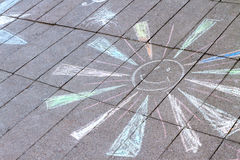 Chalk drawing on asphalt Royalty Free Stock Images