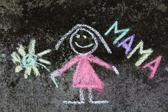 Chalk drawing: Cute mother portrait and word MAMA. Chalk drawing on asphalt: Cute mother portrait and word MAMA stock image