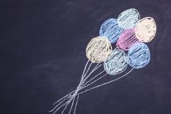 Chalk drawing balloons stock images