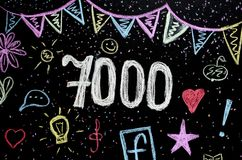 7 000 chalk drawing on blackboard royalty free stock photography