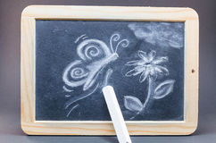 Chalk Drawing. Blackboard in wooden frame with a chalk drawing stock photography