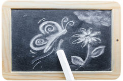 Chalk drawing. Blackboard in wooden frame with a chalk drawing stock image