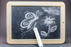 Chalk drawing. Blackboard in wooden frame with a chalk drawing royalty free stock images