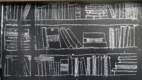 Chalk drawing of book shelves in library on black board Royalty Free Stock Photography