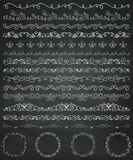 Chalk Drawing Borders and Frames, Dividers, Swirls Royalty Free Stock Photos