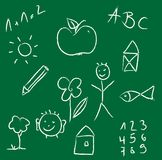 Chalk drawing of a child on green chalkboard Royalty Free Stock Photo