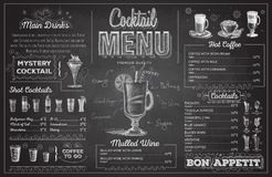 Vintage chalk drawing cocktail menu design. Restaurant menu Stock Photography