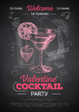 Chalk drawing cocktail valentine party poster Stock Image