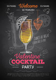 Chalk drawing cocktail valentine party poster Stock Images