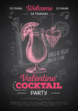 Chalk drawing cocktail valentine party poster Stock Photography