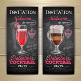 Chalk drawing cocktail valentine party poster Royalty Free Stock Photos