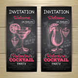 Chalk drawing cocktail valentine party poster Royalty Free Stock Images
