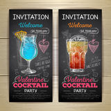 Chalk drawing cocktail valentine party poster Stock Photo