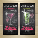 Chalk drawing cocktail valentine party poster Stock Photos