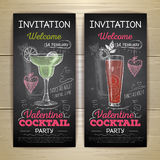 Chalk drawing cocktail valentine party poster Royalty Free Stock Image