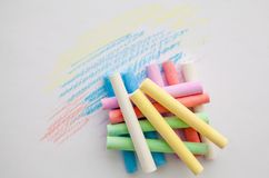 Chalk for drawing colorful on a white background. stock images