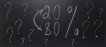 Chalk drawing - concept of pareto law on blackbroard. royalty free stock photo