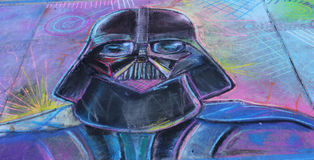 Chalk drawing of Darth Vader Stock Images