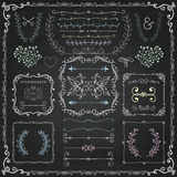 Chalk Drawing Decorative Doodle Design Elements Stock Image
