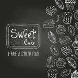Chalk drawing. Decorative sketch of cakes. Royalty Free Stock Photography