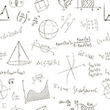 Chalk drawing effect. Math formulas and graphs on royalty free illustration