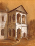 Chalk drawing. Facade of an ancient building stock illustration