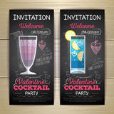 Chalk drawing flat cocktail valentine party royalty free illustration