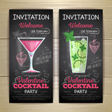 Chalk drawing flat cocktail valentine party poster vector illustration