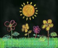 Chalk Drawing of Garden on Blackboard Royalty Free Stock Image