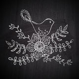 Chalk drawing greeting card with cute bird on chalkboard blackbo Royalty Free Stock Image