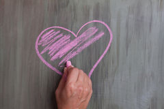 Chalk drawing heart shape royalty free stock image