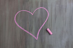 Chalk drawing heart shape. Chalk drawing pink heart shape stock photos