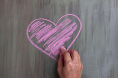 Chalk drawing heart shape stock photography