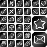 Chalk drawing icons set. Useful icons button. Chalk drawn effect. Use for web element or any design you want Royalty Free Stock Image