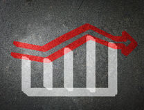 Chalk drawing of an increase in the stock market. The economic c Royalty Free Stock Image