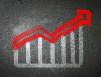 Chalk drawing of an increase in the stock market. The economic c Stock Image