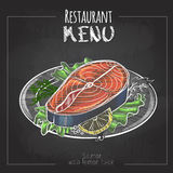 Chalk drawing menu design. Fish menu. Salmon with lemon. Chalk drawing menu design. Fish menu. Salmon Stock Image