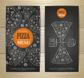 Chalk drawing pizza. Set of banners Stock Image