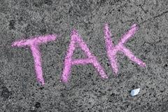 Chalk drawing: Polish word YES stock photo