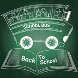 Chalk drawing of school bus Royalty Free Stock Photos