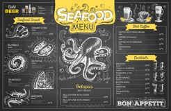 Vintage chalk drawing seafood menu design. Restaurant menu. Chalk drawing seafood menu design. Restaurant menu stock illustration