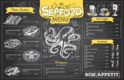 Vintage chalk drawing seafood menu design. Restaurant menu Royalty Free Stock Photo