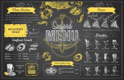 Vintage chalk drawing seafood menu design. Restaurant menu Royalty Free Stock Images