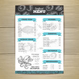 Chalk drawing seafood menu design. Royalty Free Stock Photos