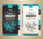 Chalk drawing seafood menu design. Royalty Free Stock Image