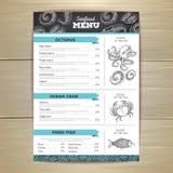 Chalk drawing seafood menu design. Stock Photo