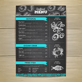 Chalk drawing seafood menu design. Royalty Free Stock Photography